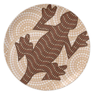 Aboriginal lizard dot painting plate