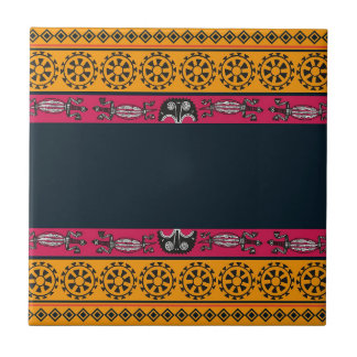 Aboriginal Tribal Pink and Orange Art Tile