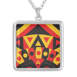 aboriginal tribal silver plated necklace