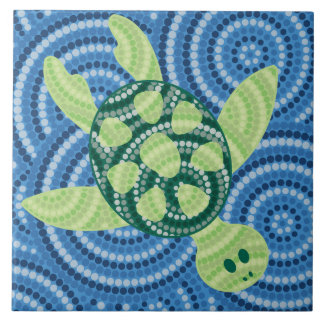 Aboriginal turtle dot painting tile