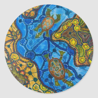 Aboriginal Turtles Painting Round Sticker