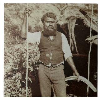 Aborigine with a Boomerang, c.1860s (sepia photo) Ceramic Tiles