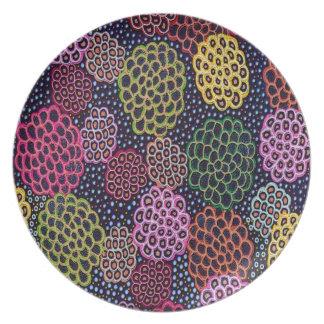Aboriginie Dancing Flowers Plate