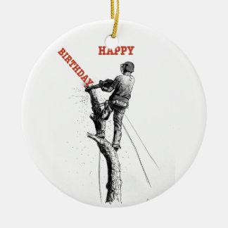Aborist Tree surgeon christmas present gift Ceramic Ornament