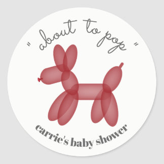 About To Pop Red Balloon Animal Baby Shower Classic Round Sticker