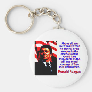 Above All We Must Realize - Ronald Reagan Basic Round Button Keychain