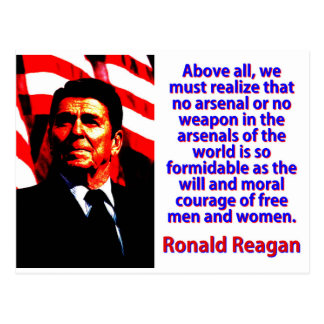 Above All We Must Realize - Ronald Reagan Postcard