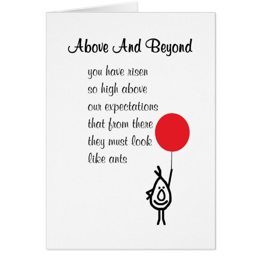 Above And Beyond - an employee appreciation poem Card ...