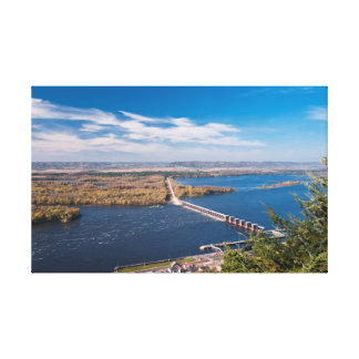 Above Mississippi River and Dam at Alma Canvas Print