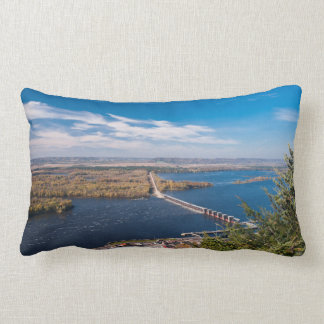 Above Mississippi River and Dam at Alma Lumbar Pillow