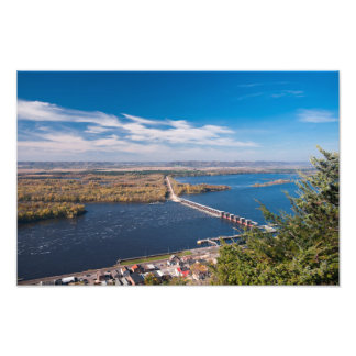 Above Mississippi River and Dam at Alma Photo Print