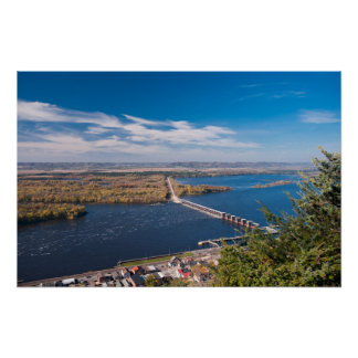 Above Mississippi River and Dam at Alma Poster
