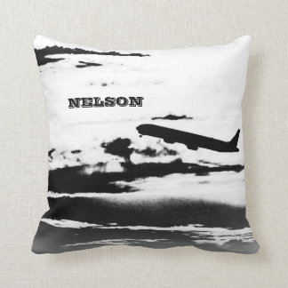 Above the Clouds/Jet Airplane Pilot Personalized Throw Pillow
