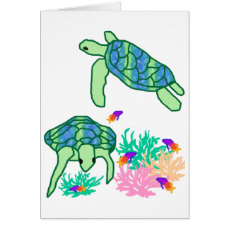 Above the rest sea turtle blank card