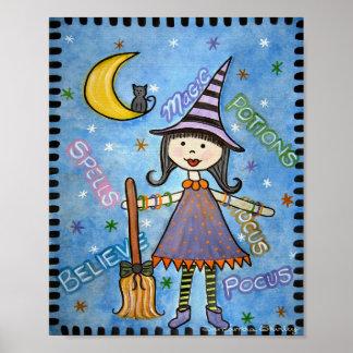Abracadabra - la sorcière de 8x10 Halloween badine Poster