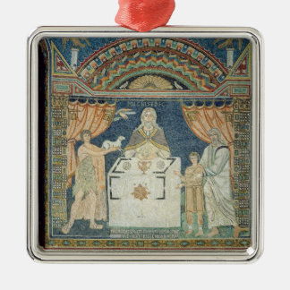 Abraham, Isaac and Melchisedech Silver-Colored Square Ornament