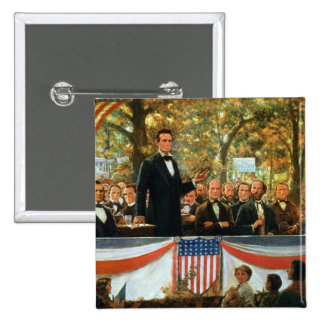 Abraham Lincoln and Stephen A. Douglas 2 Inch Square Button