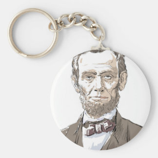 Abraham Lincoln Basic Round Button Keychain