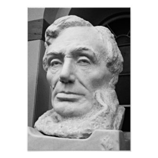 Abraham Lincoln Bust Capitol Building DC B&W Photo Poster