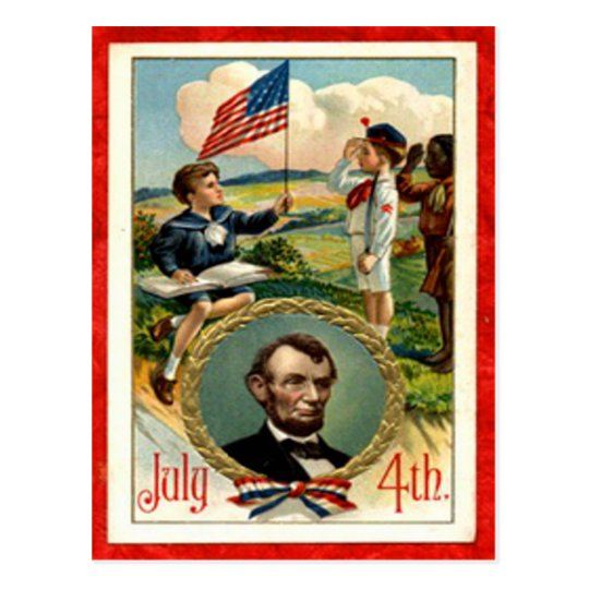 Abraham Lincoln Children Vintage 4th of July Postcard