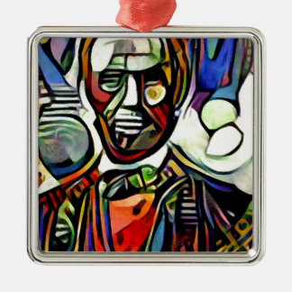 Abraham Lincoln digital colourful painting Metal Ornament