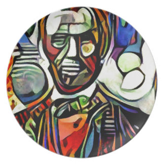 Abraham Lincoln digital colourful painting Plate