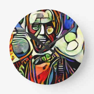 Abraham Lincoln digital colourful painting Round Clock