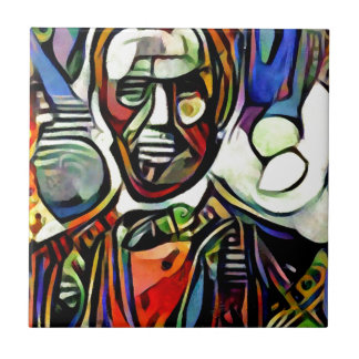 Abraham Lincoln digital colourful painting Tile