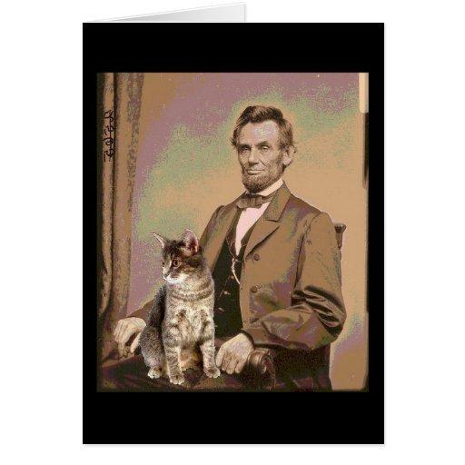 Abraham Lincoln et son chat Dixie Carte De Vœux