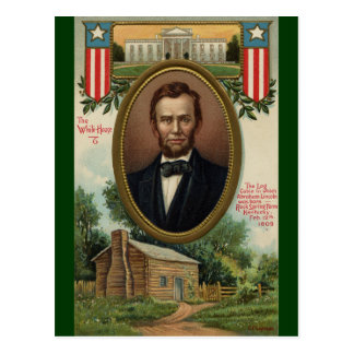 Abraham Lincoln & Log Cabin in Kentucky Postcard