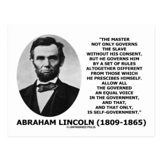 Abraham Lincoln Master Slave Self-Government Postcard