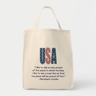 Abraham Lincoln National Pride Quote Tote Bag