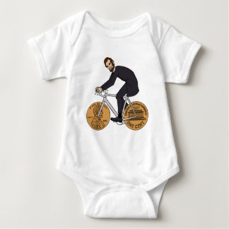 Abraham Lincoln On A Bike With Penny Wheels Bottle Baby Bodysuit
