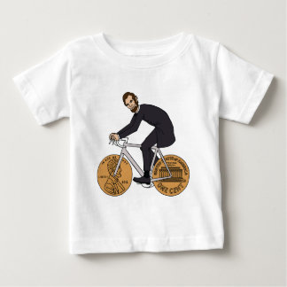 Abraham Lincoln On A Bike With Penny Wheels Bottle Baby T-Shirt