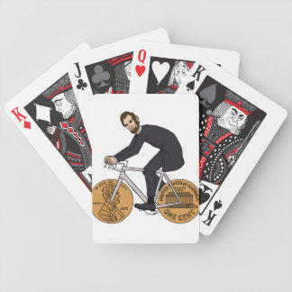 Abraham Lincoln On A Bike With Penny Wheels Bottle Bicycle Playing Cards