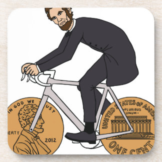 Abraham Lincoln On A Bike With Penny Wheels Bottle Coaster