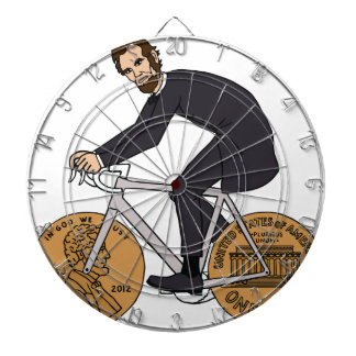 Abraham Lincoln On A Bike With Penny Wheels Bottle Dartboard