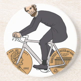 Abraham Lincoln On A Bike With Penny Wheels Bottle Drink Coasters