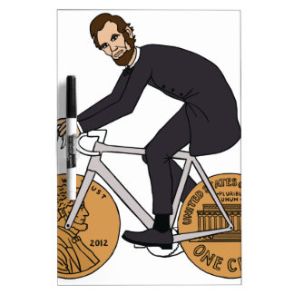 Abraham Lincoln On A Bike With Penny Wheels Bottle Dry-Erase Board