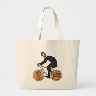 Abraham Lincoln On A Bike With Penny Wheels Bottle Large Tote Bag