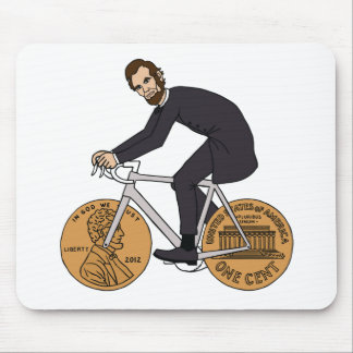 Abraham Lincoln On A Bike With Penny Wheels Bottle Mouse Pad