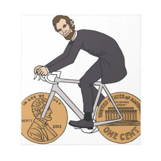 Abraham Lincoln On A Bike With Penny Wheels Bottle Notepad