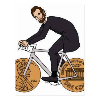 Abraham Lincoln On A Bike With Penny Wheels Bottle Postcard