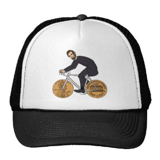 Abraham Lincoln On A Bike With Penny Wheels Bottle Trucker Hat