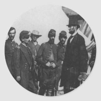 Abraham Lincoln on Battlefield at Antietam Round Sticker