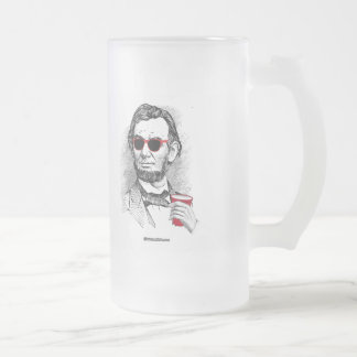 Abraham Lincoln Party Animal 16 Oz Frosted Glass Beer Mug