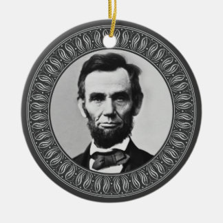 Abraham Lincoln Portrait and Quote - Double-sided Round Ceramic Ornament