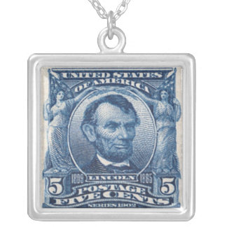 Abraham Lincoln Postage Stamp Necklace