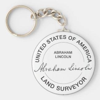 Abraham Lincoln US Land Surveyor Seal Basic Round Button Keychain