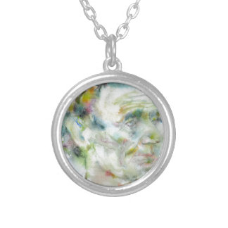 ABRAHAM LINCOLN - watercolor portrait Silver Plated Necklace